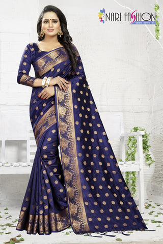 Navy Blue Color Banarasi Art Silk Women's Saree - D.NO.-1951