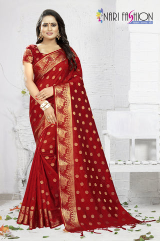 Red Color Banarasi Art Silk Women's Saree - D.NO.-1953