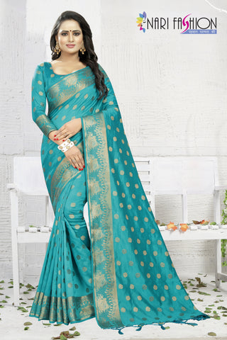 Firoji Color Banarasi Art Silk Women's Saree - D.NO.-1954
