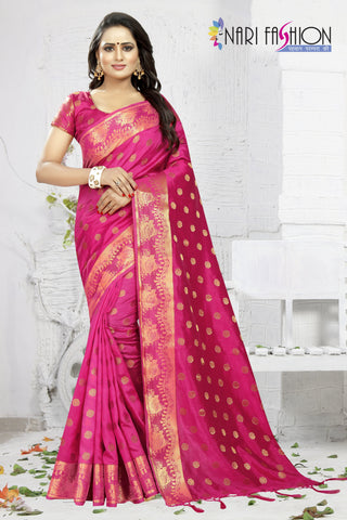 Rani Color Banarasi Art Silk Women's Saree - D.NO.-1956