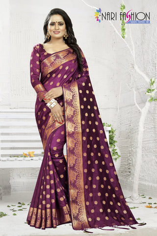 Wine Color Banarasi Art Silk Women's Saree - D.NO.-1957