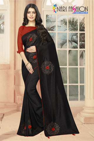 Black Color Vichitra Two-Tone Silk Women's Saree - D.NO.-1961