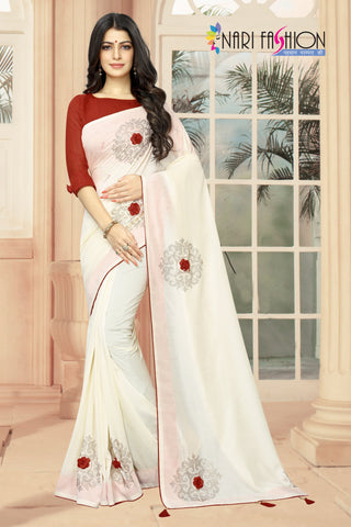 Off White Color Vichitra Two-Tone Silk Women's Saree - D.NO.-1962