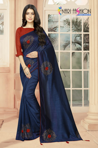 Navy Color Vichitra Two-Tone Silk Women's Saree - D.NO.-1963
