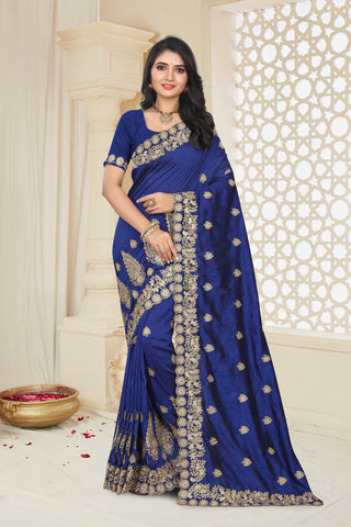 Navy Color Mayo Silk Women's Saree - D.NO.-1971