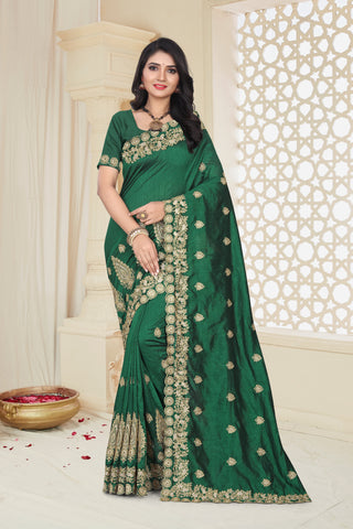 Green Color Mayo Silk Women's Saree - D.NO.-1975