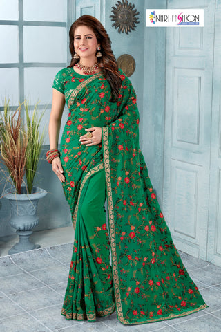 Green Color Georgette Women's Saree - D.NO.-1986