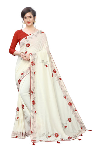 Off White Color Vichitra Two Ton Silk Saree - D.NO.-1992