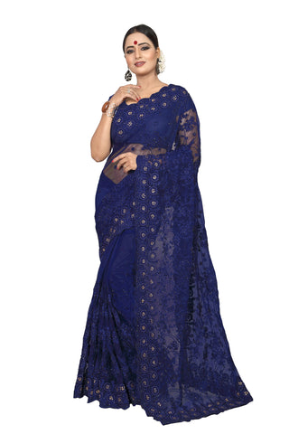 Navy Color Net Women's Embroidery Work Saree - D.NO.-423