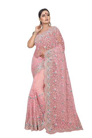 Peach Color Net Women's Embroidery Work Saree - D.NO.-427