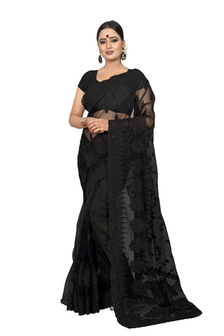 Black Color Net Women's Embroidery Work Saree - D.NO.-428