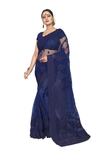 Navy Color Net Women's Embroidery Work Saree - D.NO.-430