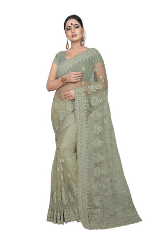 Sea Green Color Net Women's Embroidery Work Saree - D.NO.-433
