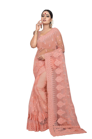 Peach Color Net Women's Embroidery Work Saree - D.NO.-434