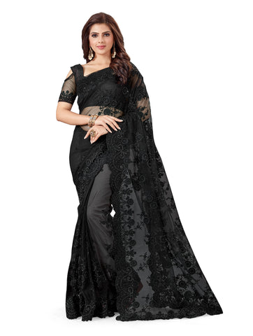 Black Color Net Women's Embroidery Work Saree - D.NO.-463