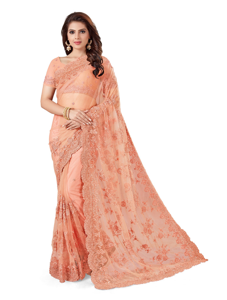 Buy Peach Color Net Women's Embroidery Work Saree