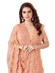 Peach Color Net Women's Embroidery Work Saree - D.NO.-466