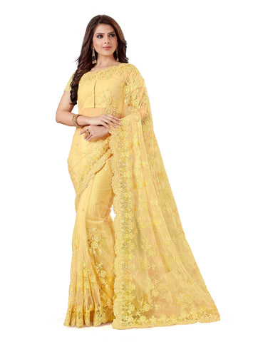 Beige Color Net Women's Embroidery Work Saree - D.NO.-468