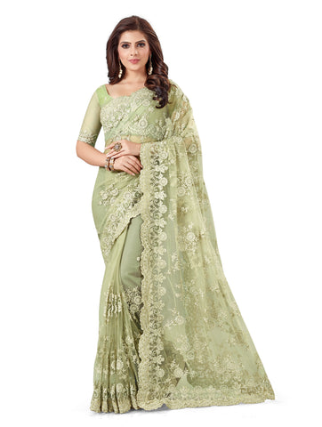 Sea Green Color Net Women's Embroidery Work Saree - D.NO.-473