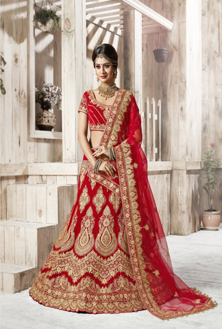 Red Color Net Women's Semi-Stitched Lehenga - D.NO.-5002