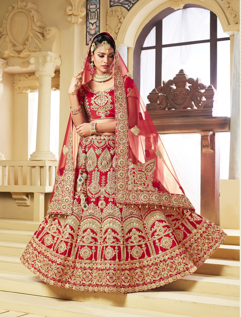 Buy Red Color Satin Women's Semi-Stitched Lehenga