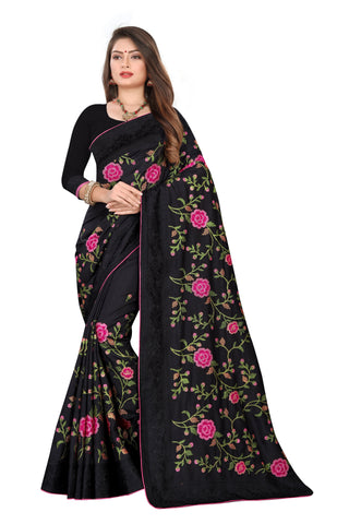 Black Color Dola Silk Women's Saree - D.NO.-501