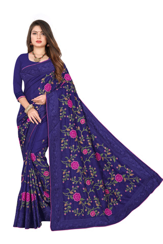 Navy Color Dola Silk Women's Saree - D.NO.-503