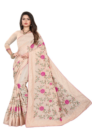 Cream Color Dola Silk Women's Saree - D.NO.-509