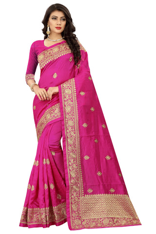 Magenta Color Art Silk Saree - D.no-2402