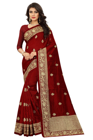 Maroon Color Art Silk Saree - D.no-2405