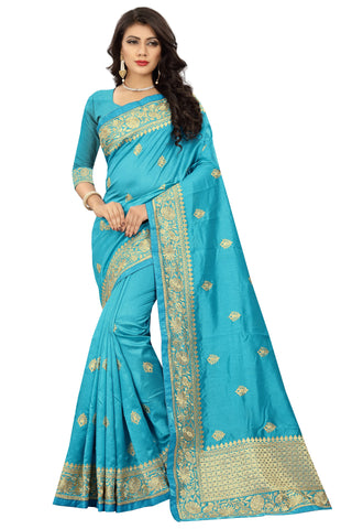 Sky Blue Color Art Silk Saree - D.no-2406