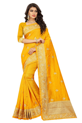 Yellow Color Art Silk Saree - D.no-2407