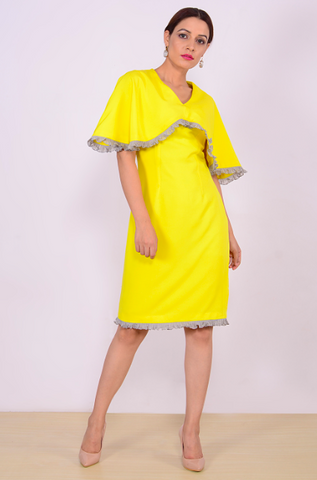 Yellow Color Georgette Stitched Women Dress - D010