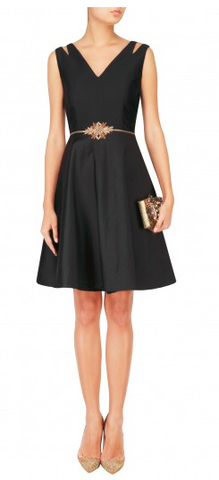 Black Color Taffeta  Stitched Short Dress - D03