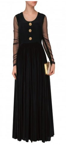 Black Color Creap Stitched Gown - D06