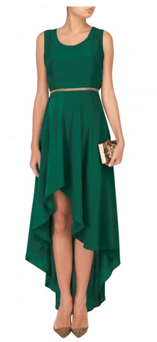 Dark Green Color Santoon And Crepe Stitched Dress - D07