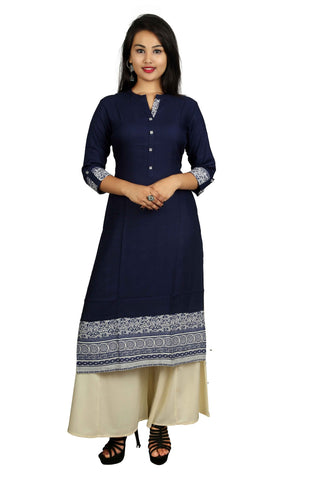 Blue And Beige Color Rayon Stitched Kurti - D1-Blue-Beige
