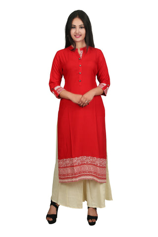 Red And Beige Color Rayon Stitched Kurti - D1-Red-Beige
