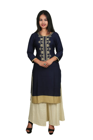 Blue And Beige Color Rayon Stitched Kurti - D12-Blue-Beige