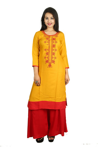Mustard And Red Color Rayon Stitched Kurti - D12-Musturd-Red