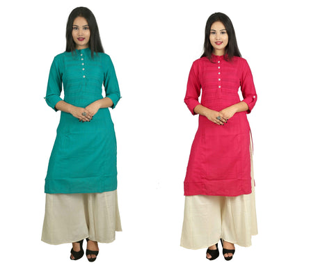 COMBOS-Pink And Turquoise Color Kurti - D15-P_D15-t
