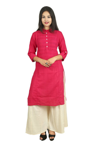 Pink And Beige Color Cotton Stitched Kurti - D15-Pink-Beige