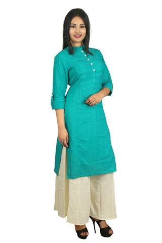 Green Color Cotton Pintex Kurti - D15Green
