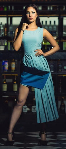 Blue Color Creap Stitched Women Dress - D17