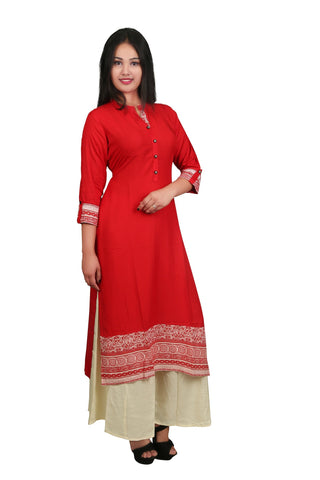 Red Color Reyon Rayon Printed Kurti - D1 Red