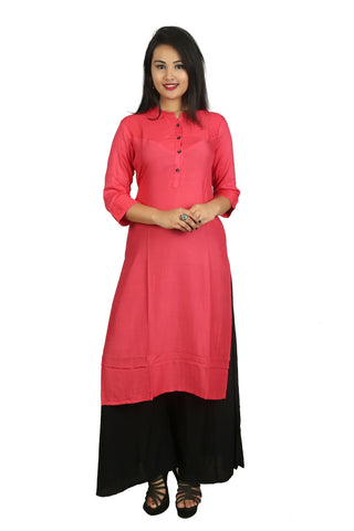 Peach And Black Color Cotton Stitched Kurti - D2-Peach-Black