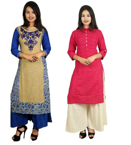 COMBOS-Blue And Pink Color Kurti - D8-B_D15-P