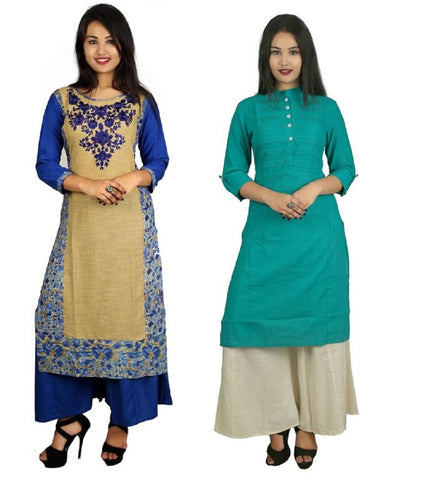 COMBOS-Blue And Turquoise Color Kurti - D8-B_D15-T