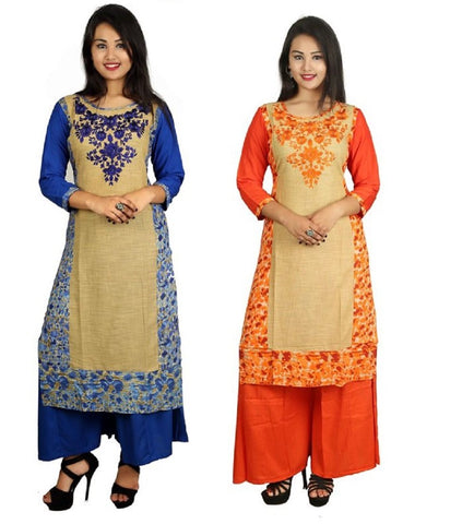 COMBOS-Blue And Orange Color Kurti - D8-B_D8-O