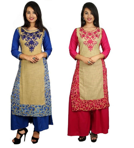 COMBOS-Blue And Pink Color Kurti - D8-B_D8-P